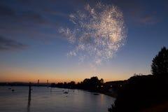 4 de julho fogos-de-artifício Os fogos-de-artifício indicam no fundo escuro do céu Fotos de Stock Royalty Free