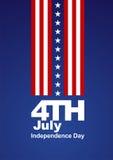 4 de julho fundo azul branco vermelho das estrelas brancas ilustração do vetor