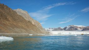 14 de julho geleira em Spitsbergen, Svalbard Imagem de Stock Royalty Free