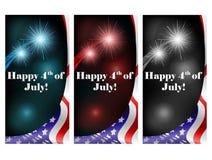 4 de julho grupo de cartão com fogo de artifício Imagens de Stock Royalty Free