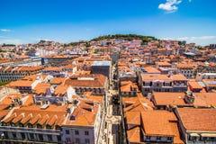10 de julho de 2017 - Lisboa, Portugal Vista panorâmica de Lisboa no por do sol bonito portugal Fotos de Stock