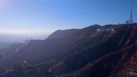 10 de julho de 2018 Los Angeles, Califórnia Ideia aérea do sinal de Hollywood video estoque