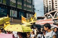 1º de julho protesto em Hong Kong Fotografia de Stock Royalty Free