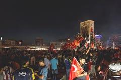 15 de julho protestos da tentativa do golpe em Istambul Imagens de Stock Royalty Free