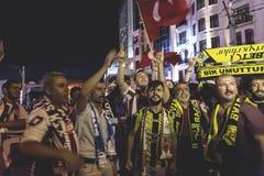15 de julho protestos da tentativa do golpe em Istambul Fotografia de Stock