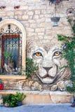 19 de julho de 2017 rua grande da fortaleza, Baku, Azerbaijão A decoração das paredes das casas velhas na cidade Imagens de Stock Royalty Free