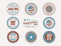 4 de julho selos e selos Imagem de Stock Royalty Free