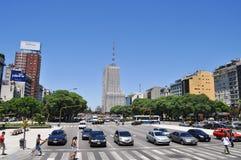 9 de Julio Avenue en Buenos Aires Fotos de archivo libres de regalías