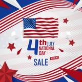 4 de julio bandera del Día de la Independencia de los E.E.U.U. con la plantilla del vector de la bandera americana ilustración del vector