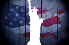 4 de julio Día de la Independencia, bandera, estatua de la libertad stock de ilustración