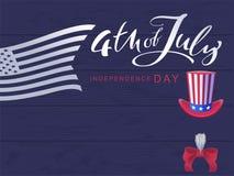 4 de julio Día de la Independencia Texto de la caligrafía y tarjeta de felicitación manuscritos de los E.E.U.U. de la bandera Imagen de archivo libre de regalías
