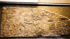 29 de julio de 2015 LONDRES, Reino Unido, BRITISH MUSEUM - alivio que muestra a presos babilónicos Fotos de archivo