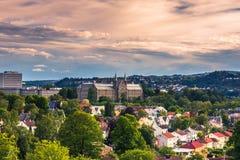 28 de julio de 2015: Panorama de la universidad de Strondheim, Noruega Imágenes de archivo libres de regalías
