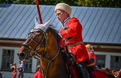 25 de julio de 2015 Presentación ceremonial de la escuela de montar a caballo del Kremlin en VDNH en Moscú Imágenes de archivo libres de regalías