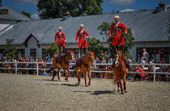 25 de julio de 2015 Presentación ceremonial de la escuela de montar a caballo del Kremlin en VDNH en Moscú Imagenes de archivo