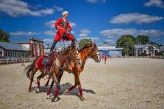 25 de julio de 2015 Presentación ceremonial de la escuela de montar a caballo del Kremlin en VDNH en Moscú Fotografía de archivo libre de regalías
