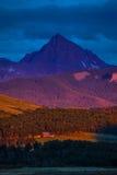 14 de julio de 2016 - puesta del sol en San Juan Mountains, Colorado, los E.E.U.U. Fotos de archivo libres de regalías