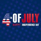 4 de julio, el Día de la Independencia feliz de los E.E.U.U. protagoniza el cartel Imágenes de archivo libres de regalías