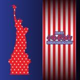4 de julio estatua de los E.E.U.U. del Día de la Independencia de las rayas azules rojas de la estrella de la libertad Impresión  libre illustration
