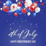 4 de julio fondo del Día de la Independencia con los globos y el confeti stock de ilustración