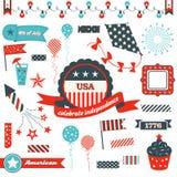 4 de julio insignias, elementos del diseño y clipart Fotografía de archivo