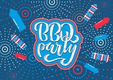 4 de julio invitaci?n de las letras del partido del Bbq a la barbacoa americana del D?a de la Independencia con las estrellas de  ilustración del vector