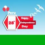 28 de julio Peru Happy Independence Day Fondo de la celebración con las banderas, los pájaros, el globo, el campo y el texto Ilustración del Vector