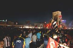 15 de julio protestas de la tentativa del golpe en Estambul Fotos de archivo libres de regalías