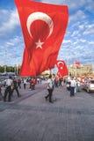 15 de julio protestas de la tentativa del golpe en Estambul Imágenes de archivo libres de regalías