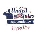 4 de julio tipografía del grunge Día de la Independencia de los Estados Unidos Muestra y bandera del vintage para las tarjetas y  Imágenes de archivo libres de regalías