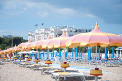 5 de junho de 2016 opinião bonita da praia de rimini-Itália- Rimini sobre Fotografia de Stock Royalty Free