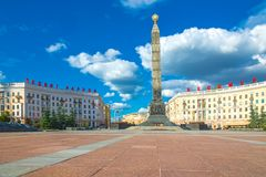 24 de junho de 2015: Quadrado da vitória em Minsk, Bielorrússia Imagem de Stock
