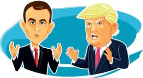 4 de junio de 2017 caricatura de Emmanuel Macron Donald Trump Vector Imagen de archivo libre de regalías