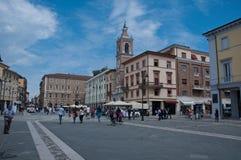 10 de junio de 2016 cuadrado de Rímini-Italia-Tre Martiri en Rímini en la región de Emilia Romagna Imagen de archivo libre de regalías