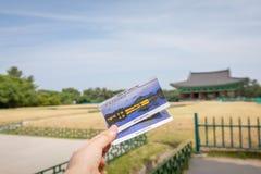 22 de junio de 2017 el boleto del palacio de Donggung y Wolji acumulan en Gye Fotografía de archivo