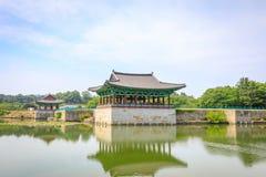 22 de junio de 2017 palacio de Donggung y charca de Wolji en Gyeongju, K del sur Foto de archivo libre de regalías