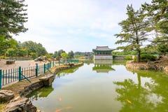 22 de junio de 2017 palacio de Donggung y charca de Wolji en Gyeongju, K del sur Imagen de archivo