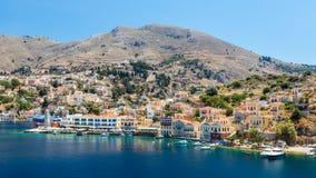 22 de junio de 2017 Vista de la bahía en la isla de Symi Foto de archivo libre de regalías