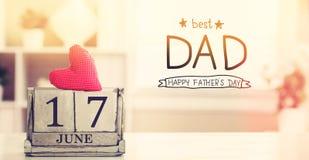 17 de junio el mejor mensaje del papá con el calendario Fotos de archivo libres de regalías