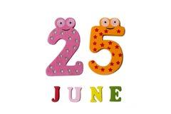 25 de junio Imagen el 25 de junio, en un fondo blanco Imágenes de archivo libres de regalías
