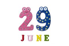 29 de junio Imagen 29 de junio, en un fondo blanco Imagen de archivo libre de regalías