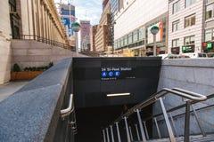 22 de junio de 2017 la nueva entrada del subterráneo de A acaba de abrirse en el oeste 33ro Stre Imagen de archivo libre de regalías