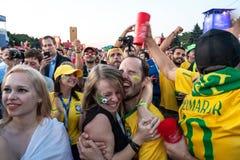 27 de junio de 2018, Moscú, Rusia Los partidarios brasileños celebran Vic fotos de archivo