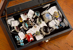 De Juwelen van het kostuum in doos Stock Foto's