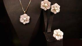 De juwelenopslag, juwelenreeks, Juwelen voor jonge fashionistas roze juwelen plaatste met goud, oorringen, ringen, tegenhangers,  stock videobeelden