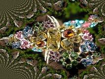De juwelenpatroon van Mandelbrot Stock Afbeeldingen