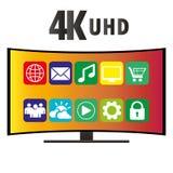 de 4K écran incurvé moderne Smart TV, vecteur ultra HD Image libre de droits