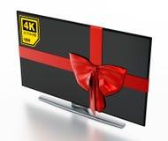 de 4K tevê ultra HD envolvida com fita vermelha ilustração 3D ilustração royalty free