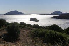 De Kaap Sounion stock foto's