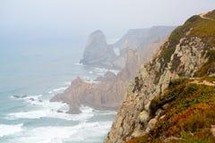 De kaaprots is het eindpunt van Portugal Royalty-vrije Stock Foto's